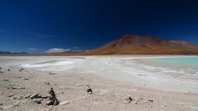 拉古纳布朗卡和拉古纳Verde 安地斯山的avaroa eduardo动物区系国家储备 流星锤 库存照片