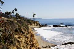 拉古纳海滩,橘郡,加利福尼亚美国新月形海湾  图库摄影