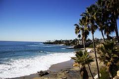 拉古纳海滩,橘郡,加利福尼亚美国新月形海湾  库存照片