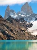 拉古纳de与Mt.在巴塔哥尼亚的Fitz Roy的los Tres 库存照片