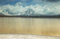 拉古纳lejia (漂白湖)在阿塔卡马地区 库存图片