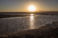 拉古纳Tebinquinche风景在圣佩德罗火山de阿塔卡马,智利 免版税图库摄影