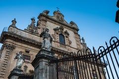 拉古萨西西里岛大教堂,建造在晚巴洛克式的样式 库存图片