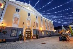 拉多夫利察,斯洛文尼亚- 2017年12月20日:出现12月夜 免版税图库摄影