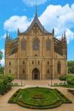 巴巴拉大教堂捷克hora kutna共和国st 其中一个最著名的哥特式教会在欧洲,联合国科教文组织世界遗产名录站点 免版税图库摄影