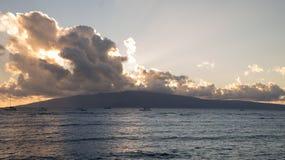 拉奈岛日落 库存图片