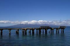 拉奈岛看法从Mala港口的夏威夷的 免版税库存照片