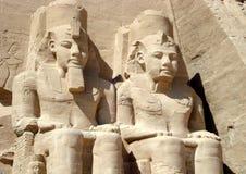 拉姆西斯寺庙II在阿布格莱布Simbel,埃及 免版税库存图片