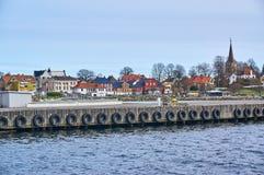 拉尔维克渔夫口岸在春天,挪威 库存照片