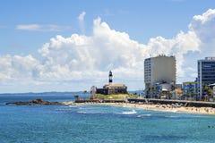 巴拉岛海滩看法在萨尔瓦多,巴伊亚,巴西 图库摄影