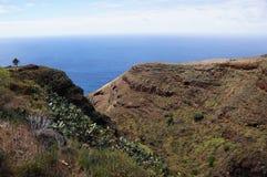 拉帕尔玛岛。在海旁边的谷 免版税库存照片