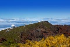 拉帕尔马岛Roque de Muchachos ORM观测所 库存图片
