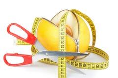 拉开拉链的瓜和测量的磁带 免版税库存照片