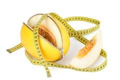 拉开拉链的瓜和测量的磁带 免版税库存图片