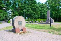 拉彭兰塔 芬兰 在中央公园附近的纪念碑 图库摄影