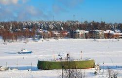 拉彭兰塔 芬兰 Saimaa湖冬天视图  免版税库存图片