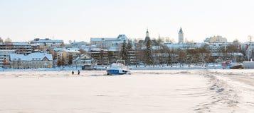 拉彭兰塔 芬兰 冻Saimaa湖 免版税库存照片