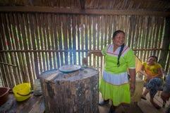 拉戈阿格里奥,厄瓜多尔- 2016年11月, 17 :妇女在Siona的户内厨房里展示烹调丝兰玉米粉薄烙饼 库存照片