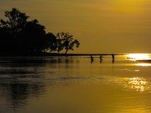 拉扯在天捉住,在日落的年轻渔夫 免版税库存图片