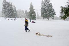 拉扯在本那比山的人雪橇 库存照片