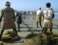 拉扯在他们的捕鱼网的印地安渔夫 图库摄影