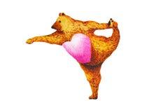 拉扯姿势瑜伽的常设弓:Dandayamana Dhanurasana,水彩绘画 库存图片