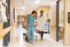 拉扯担架的医生和护士在医院 免版税库存图片