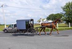 拉扯横跨一个美好的萨斯喀彻温省风景的马一个推车 库存照片