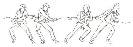 拉扯绳索实线艺术的商人 企业配合线性概念 剪影人竞争 向量例证