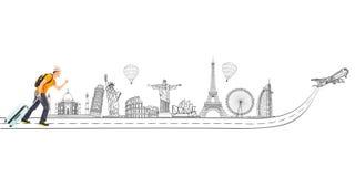 拉扯行李的年轻背包徒步旅行者旅行全世界 免版税图库摄影