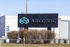 拉斐特-大约2016年12月:Arconic锻件和挤压厂 Arconic摆脱了Alcoa 2016 I 免版税库存照片