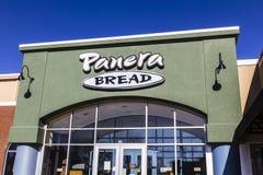 拉斐特-大约2016年12月:Panera面包零售地点 Panera是提供自由WiFi VI的快速的偶然餐馆链子  图库摄影