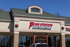 拉斐特-大约2017年4月:Penn驻地快餐潜水艇三明治餐馆 Penn驻地有300个地点在15个状态我 免版税库存照片