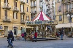 拉斯佩齐亚,意大利- 2016年3月09日:La spezia城市高狭窄的房子  免版税库存照片