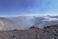 拉斯卡尔火山与喷气孔的火山火山口 免版税库存图片