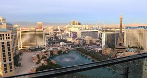 拉斯维加斯从高层阳台的小条录影 城市鸟瞰图 影视素材