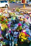 拉斯维加斯射击受害者的热忱的花床 库存图片