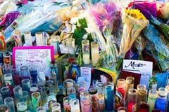 拉斯维加斯射击受害者的热忱的花床 免版税库存图片