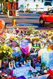 拉斯维加斯射击受害者的热忱的花床 免版税图库摄影