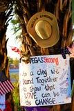 拉斯维加斯射击受害者的纪念消息 图库摄影