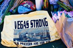 拉斯维加斯射击受害者的纪念消息 免版税库存图片