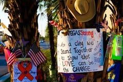 拉斯维加斯射击受害者的纪念消息 库存照片
