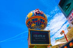 拉斯维加斯,美利坚合众国- 2016年5月05日:巴黎旅馆看法拉斯维加斯小条的 免版税库存图片