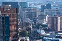 拉斯维加斯,NV,美国09032018:Th高看法从统温层塔的小条 免版税库存图片