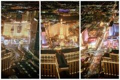 拉斯韦加斯大道赌博娱乐场在从直升机的晚上 夜ligh 库存图片