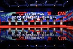 拉斯维加斯、NV、2015年12月15日,在CNN共和党总统辩论的空的指挥台在威尼斯式渡假胜地和娱乐场,拉斯维加斯, 库存照片