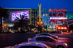 拉斯维加斯大街在晚上 免版税库存图片