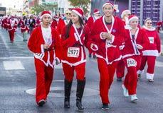 拉斯维加斯巨大圣诞老人奔跑 库存照片