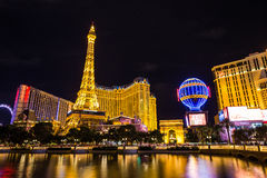 巴黎拉斯维加斯旅馆和赌博娱乐场的看法nigth的,拉斯维加斯,美国 免版税图库摄影