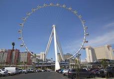 拉斯维加斯最新的吸引力云霄飞车弗累斯大转轮 库存照片